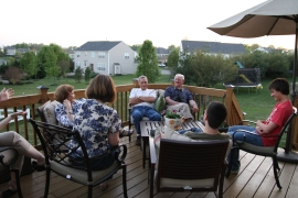 Chatting on the deck