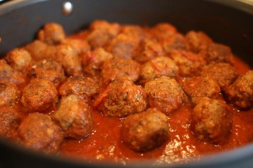 Simmering Meatballs